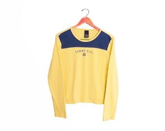 vintage t shirt / Tommy Hilfiger / 90s long sleeve / 1990s Tommy Hilfiger Tommy Girl yellow long sleeve Medium