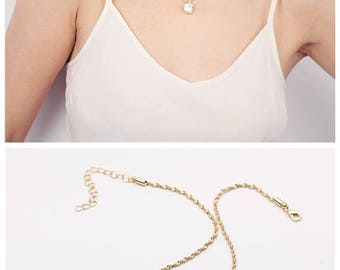ON SALE Dainty on trend gold choker necklace layering jewelry - festival necklaces