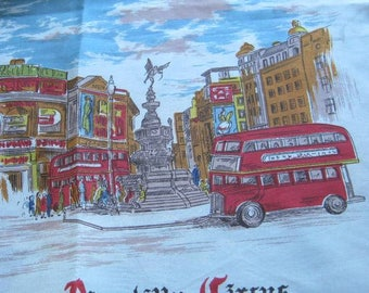 Vintage London Silk Souvenir Scarf; Blue Silk with Piccadilly Circus, Big Ben, Tower Guards~Beautiful UK Gift Scarf; Free Ship/U.S.