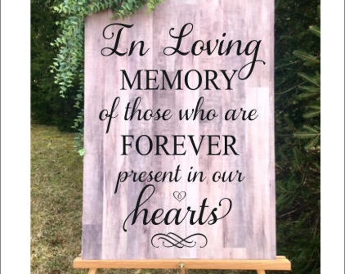 In Loving Memory Decal Wedding Decal Decor for Wedding Display Passed Loved Ones DIY Lettering for Chalkboard for Wedding Forever Present
