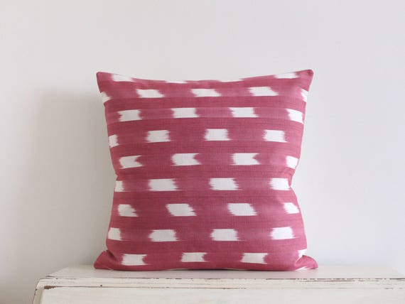 Limited edition ikat pillow cushion cover in cerise and cream