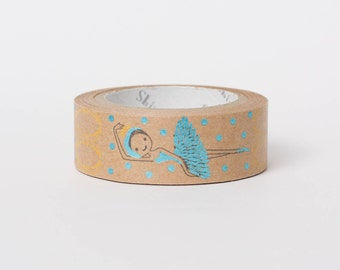 Kawaii Japanese washi tape - kraft paper tape - ballerina by Shinzi Katoh