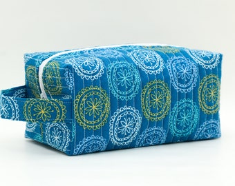 Flowers in Circles on Blue Quilted Cosmetic Bag with Handle, Boxy Pouch; Boxy Bag; Make-Up Bag; Travel Bag; First Aid Kit; Shave Bag;