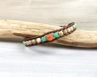 Coral Fossil Bracelet Fossil Jewelry Coral Bead Made in Japan Healing Power Stone Jewelry Handmade Leather Wrap Bracelet Ancient Stone