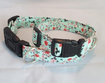 Blue dog collar with pink roses- matching leash, adjustable, spring, summer, flowers, custom sizes