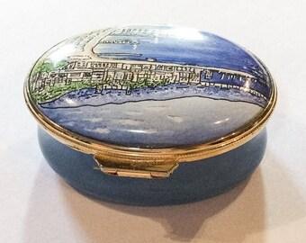 Blue Enamel Trinket Box, Cannes, French Seaside, Staffordshire Enamels, Vintage SUMMER SALE