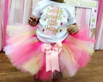 twinkle twinkle little star tutu, twinkle star tutu, twinkle star birthday tutu, pink and gold tutu, first birthday tutu, twinkle star theme