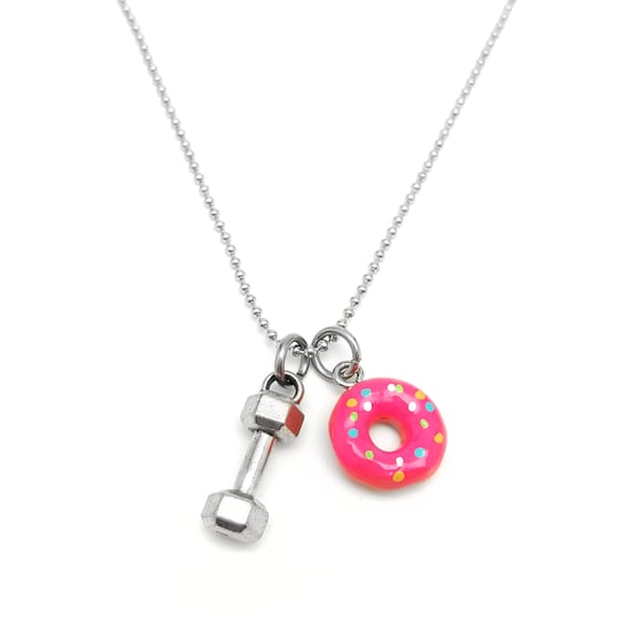 Will Lift for Donuts Dumbbell Necklace - Weightlifting Jewelry - Crossfit Jewelry - Doughnuts - Barbell Necklace - Will Deadlift for Donuts