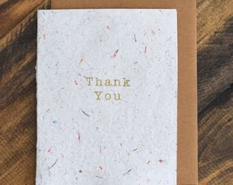 Off White Thank You Card; Handmade Recycled Paper and Fabric