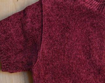 Garnet Red Chenille Mock Neck Sweater Top / True Vintage 1990s M / Minimalist Modern / Baxter Wells