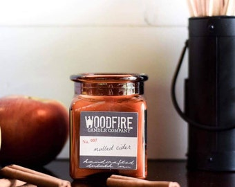 MULLED CIDER Amber Apothecary Cork Topped Jar Wood Wick Soy Candle Gift Packaging Cotton Bag