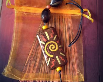 Wall Hanging Spiral Energy SUN Charm & Pouch. Energy Talisman Pagan Witch Wicca