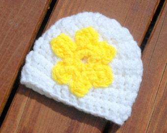 Baby Flower Hat, Infant Baby Hat, Baby Girl Hat, Crochet Baby Item, 3 Months Hat, Newborn Crochet, 6 Months Hat, Crochet Baby Girl
