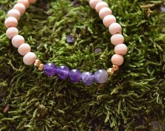 amethyst bracelet | stretchy beaded bracelet | february birthstone | gift for her | healing stone jewelry | birthstone bracelet | violet