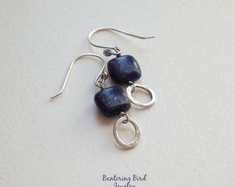 Square Lapis Earrings with Hammered Fine Silver Dangle, Blue Gemstone, Oxidized Sterling Silver Lapis Lazuli Jewelry, Gift for Her