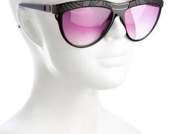 EMILIO PUCCI 80s Glam / Luxe Vintage Oversized Cat Eye Designer Sunglasses w/ Purple Tinted Lenses