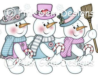 Digi Stamp  'Snowmen Trio' Snowman. Christmas