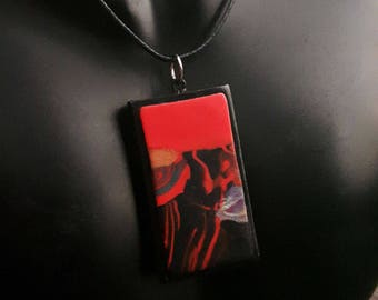 Abstract tile art- pendant, handmade from polymer clay