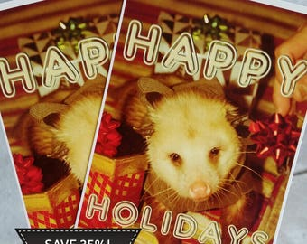 10 PACK! Cute Opossum Vintage Style Holiday Post Card