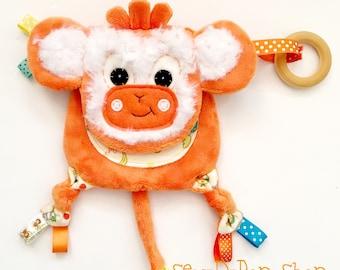 Mini monkey baby lovey keepsake organic teething ring toy friend lovey