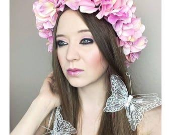 Pink Flower Crown Adult Floral Crown, Woodland Halloween Fairy Costume, Adult Crown, Pink Flower Headband