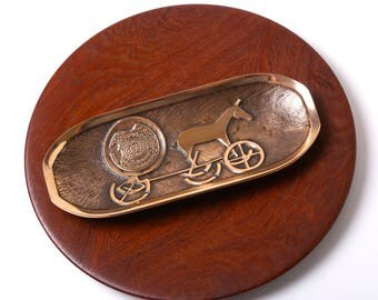 Vintage Aedel Malm brass bronze dish tray - 1950s Danish mid century desk decor - Trundholm Sun Chariot - Nordic Scandinavian home decor