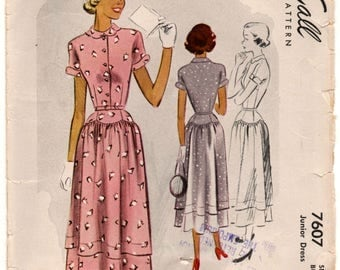 "1940's McCall Day Dress with Dropped Waist and Short Sleeves Pattern - Bust 31"" - No. 7607"