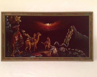 MCM Large Velvet Painting Mexican Figural Night Landscape Alpaca Mexico Signed