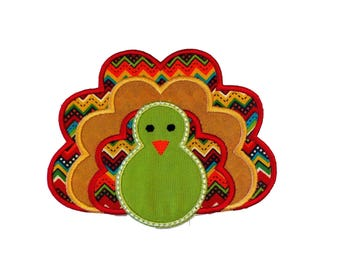 Fall turkey fabric iron on applique- Thanksgiving turkey no sew embroidered patch- ready to ship