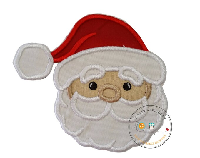 Cute Santa face - iron embroidered fabric applique patch embellishment- ready to ship
