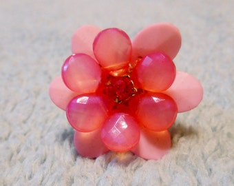 Vintage Pink Lucite Flower Ring With Shades of Pink Faceted Petals and Prong Set Pink Rhinestone Center ~ Adjustable 1970's
