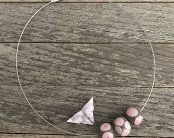 minimalist glass necklace gray and pink