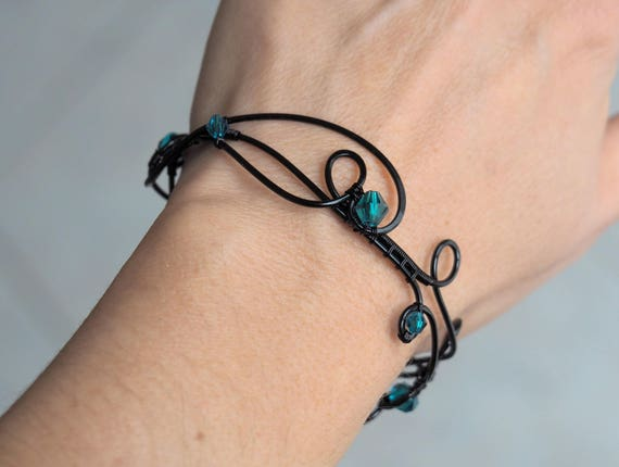 Black wire wrapped bracelet bangle gothic jewelry emerald green crystals goth cool gifts for her women Christmas gift best selling items