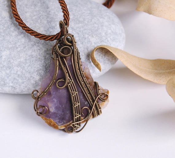 Raw Amethyst pendant ~ Wire wrapped jewerly ~ Handmade