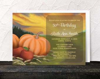 Autumn Harvest Birthday Invitations - Rustic Country Orange Pumpkin Red Apples and Hay - Any Age or Milestone - Farm or Fields - Printed