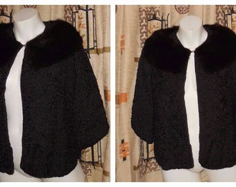 DEADSTOCK Vintage Fur Jacket Unworn 1950s 60s Black Silk Ribbon Jacket Mink Fur Collar Large Shawl Collar NWT Breakfast at Tiffany chest 40