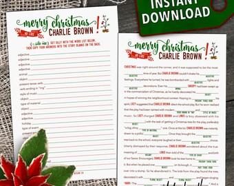 Charlie Brown Christmas Printable Mad Lib Activity / Stocking Stuffer [Download]