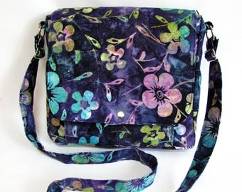 Large messenger bag- Navy blue, purple, green, fuchsia and yellow floral batik cotton