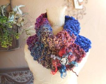 Hand Knit Cowl  Art Yarn Cowl  OOAK