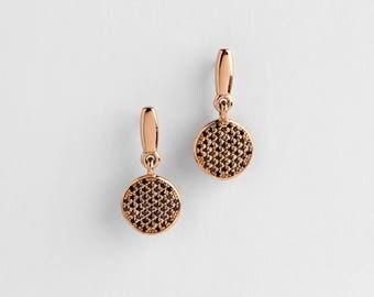 Black Diamonds Stud Earrings, Black Diamonds Rose Gold Earrings, Diamonds Disc Earrings, 18k Rose Solid Gold Earrings Dangle