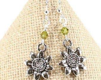 Sunflower Earrings Silver Flower Earrings Gardening Gift Flower Charm Earrings Sunflower Charm  Sunflower Jewelry Love Gardening Gift; E187