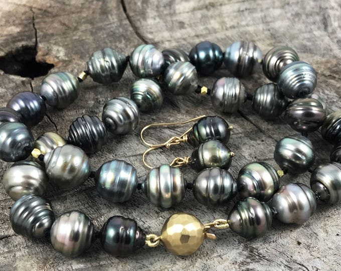 Featured listing image: Tahitian Pearls Necklace Earrings Set - Genuine Baroque Shape Multicolored Tahitian Pearls - Solid 14k Gold Clasp and Accents -  Untreated