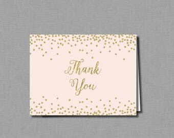 Blush Gold Glitter Bridal Shower thank you cards Mia BR75 Digital or Printed