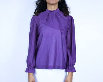 Purple Shirt - Flounce Top Long Sleeve Pleated Wrist 1980 80s Ruffle Sleeve Back Button Mock Neck Collar Disco Blouse Fabric Overlay Chiffon