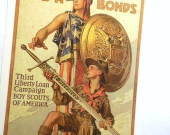 Boy Scouts Of America WW1 Poster USA War Bonds  By Artist William Leyendecker