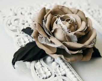 Beige Leather Rose Flower Brooch/Hair Clip