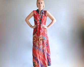 Tie Dye Batik Maxi Dress Rayon Soft Vintage 90s Maxi Dress Boho Dress Hippie Dress Summer Dress Bright Colorful Medium Small