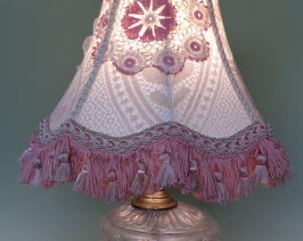 Vintage Edwardian Style Shabby Chic Cream Lace Lampshade OOAK Handmade