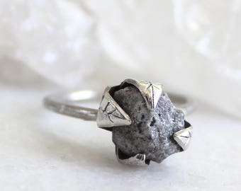 diamond ring, raw diamond, rough diamond, recycled silver, alternative engagement ring, leaf ring