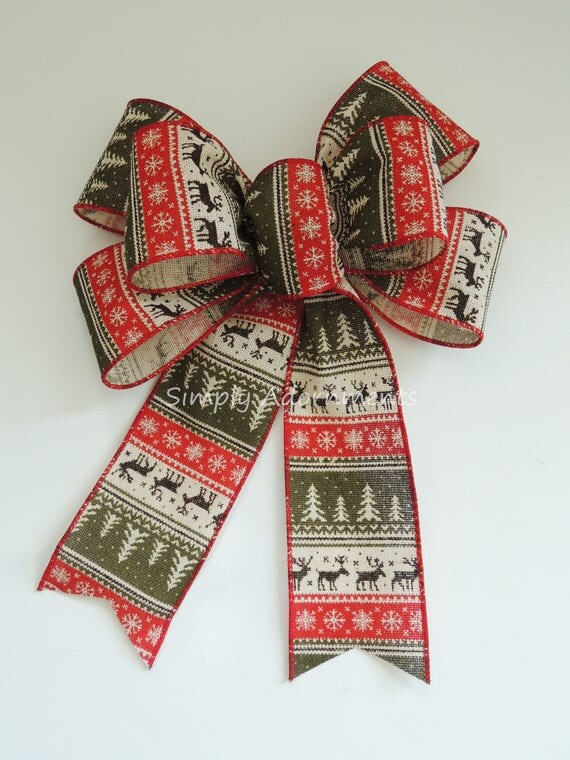 Red Green Nordic Reindeer Bow Nordic Burlap Christmas Wreath Bow Red Moss Rustic Nordic Burlap Christmas Lantern Bow Nordic Burlap Door Bow